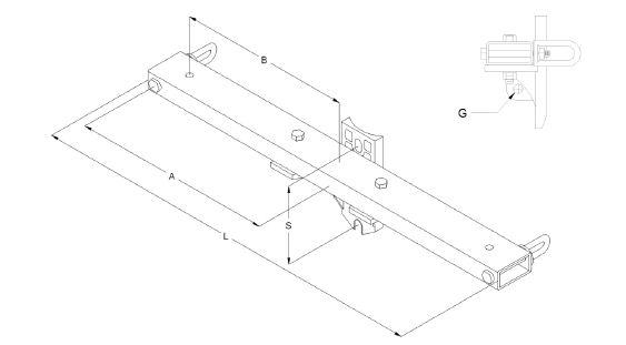 2 X 4 Tubular Steel Dead End Crossarm Dim Drawing Image